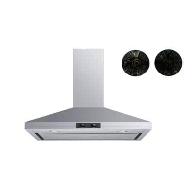 30 in. Convertible Wall Mount Range Hood in Stainless Steel with Mesh Filter, Charcoal Filters and Stainless Steel Panel