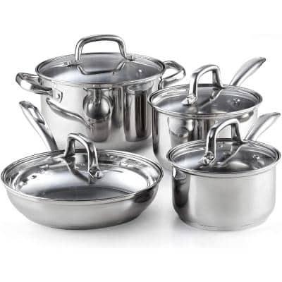 8-Piece Stainless Steel Cookware Set in Silver