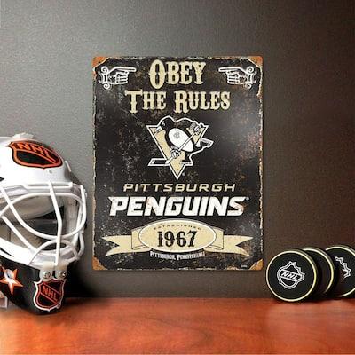 14.5 in. H x 11.5 in. D Heavy Duty Steel Pittsburgh Penguins Embossed Metal Sign Wall Art