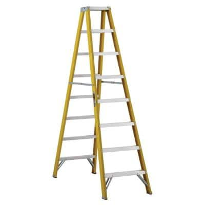 8 ft. Fiberglass Twin Step Ladder with 250 lbs. Load Capacity Type I Duty Rating