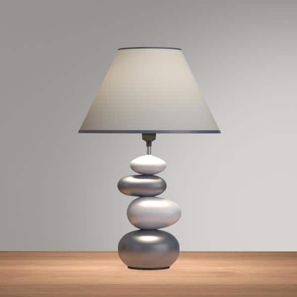 Simple Designs 15 In Shades Of Gray Ceramic Stone Table Lamp With Shade Lt3052 Gry The Home Depot