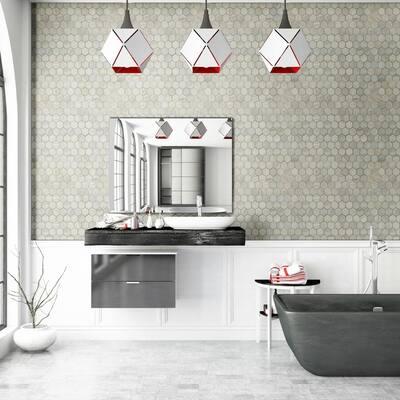 Vigo Gris Hexagon 12 in. x 12 in. x 10mm Matte Ceramic Mesh-Mounted Mosaic Tile (1 sq. ft.)