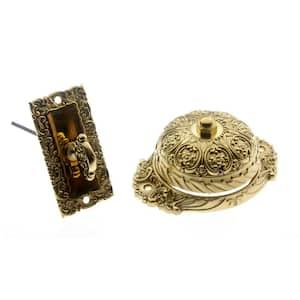 Solid Brass Ornate Mechanical Twist Door Bell in Polished Brass