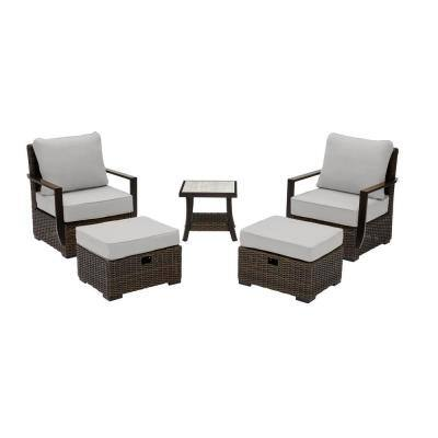 Whitfield 5-Piece Dark Brown Wicker Outdoor Patio Bistro Set with CushionGuard Stone Gray Cushions