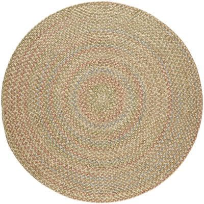 Kennebunkport Camel Multi 6 ft. x 6 ft. Round Indoor/Outdoor Braided Area Rug