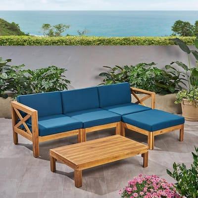 Alcove Teak Brown 5-Piece Wood Patio Conversation Set with Dark Teal Cushions