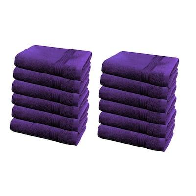 12-Piece Purple Geometric 100% Cotton washcloth Towel Set