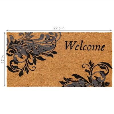 Blue Leaf Scroll 17.5 in. x 29.5 in. PVC and Coir Indoor/Outdoor Doormat