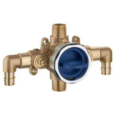 GrohSafe 3.0 Pressure Balance Valve Rough with Flush Plug with Elbows with PEX Cold Expansion Outlets with Service Stops
