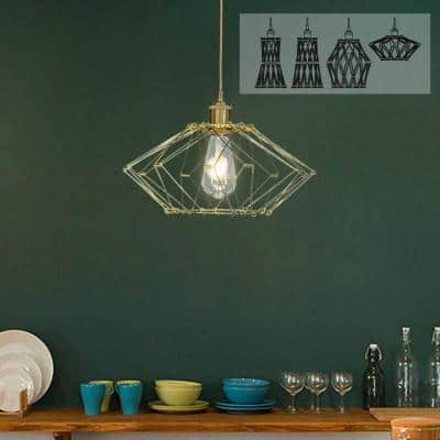 1-Light Brass DIY Simple Lantern Pendant Lamp with Adjustable Metal Wire Cage Shade