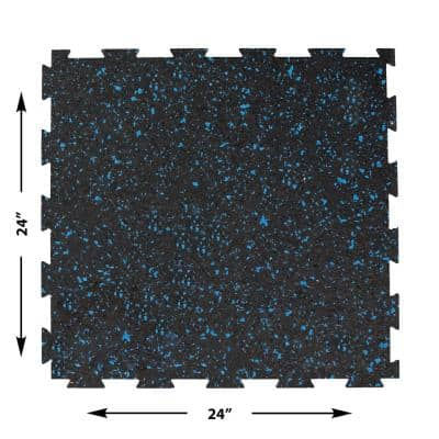 2 ft. W x 2 ft. L Black/Blue Interlocking Recycled Rubber Flooring (24 sq. ft./Pack)