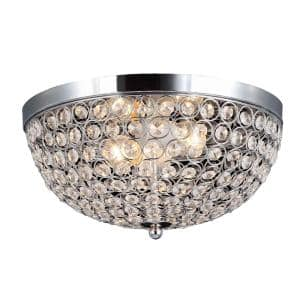 Elipse 13 in. 2-Light Chrome and Crystal Flush Mount