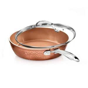 Hammered Copper 12 in. Aluminum Non-Stick Fry Pan with Glass Lid