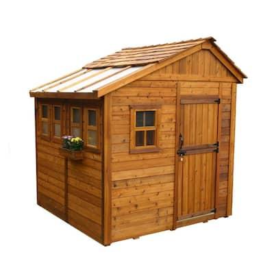 Sunshed 8 ft. x 8 ft. Western Red Cedar Garden Shed