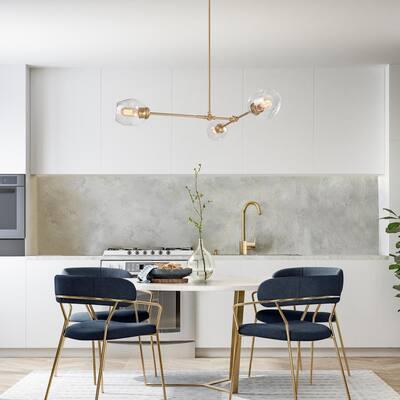 Modern 3-light Sputnik Chandelier, Dining Room Gold Sputnik Chandelier Ceiling Light with Clear Glass Shades
