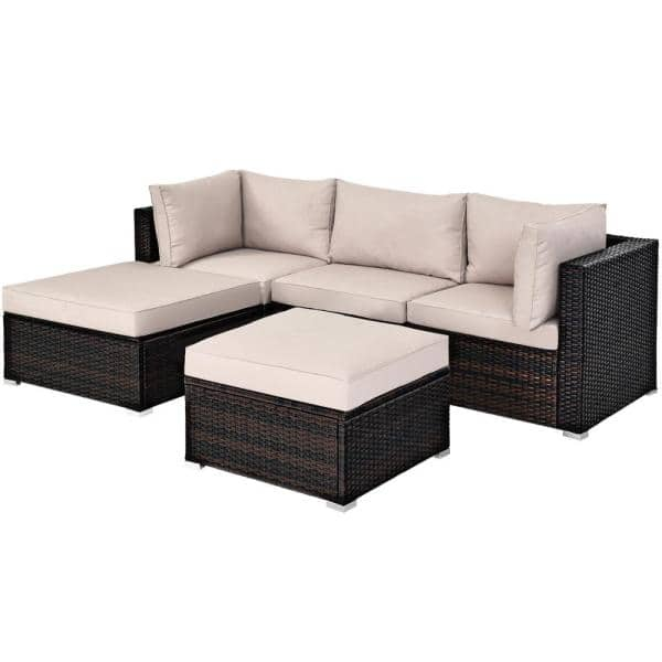 Costway Island 5 Piece Wicker Patio Conversation Set With Beige Cushions Hw63848bn The Home Depot