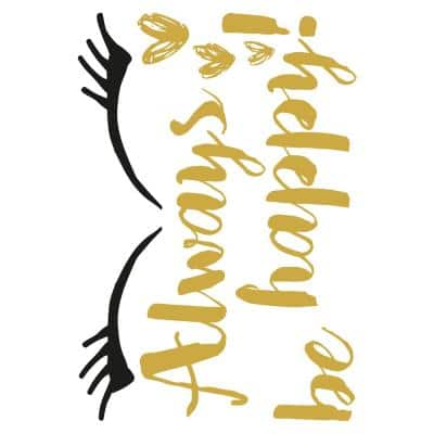 Metallic Happy Wall Quote Decal