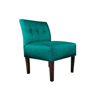 Turquoise Button Tufted Accent Chair