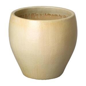 24 in. Dia Light Beige Round Ceramic Planter