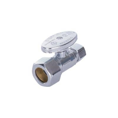 5/8 in. Compression Inlet x 3/8 in. O.D. Compression Outlet Quarter Turn Straight Stop Valve