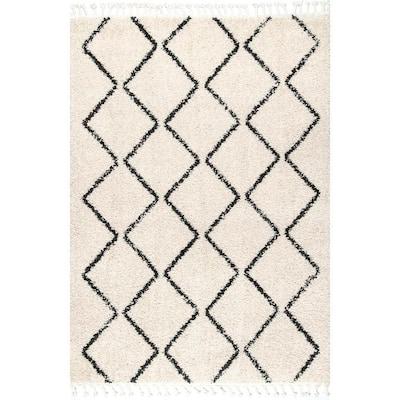 Michelle Diamond Trellis Tassel Off-White 6 ft. Square Rug
