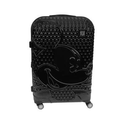 Textured Mickey Mouse 25 in. Black Hard Sided Rolling Luggage