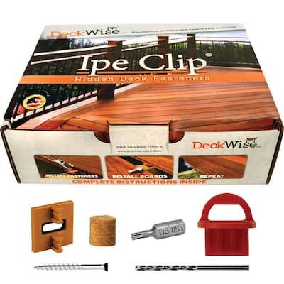 Extreme4 Ipe Clip Brown Biscuit Style Hidden Deck Fastener Kit for Hardwoods (175-Pack)