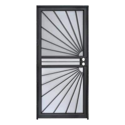 32 in. x 80 in. 469 Series Black Prehung Universal Hinge Outswing Sunburst Security Door