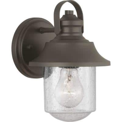 Weldon Collection 1-Light Architectural Bronze Clear Seeded Glass Farmhouse Outdoor Small Wall Lantern Light