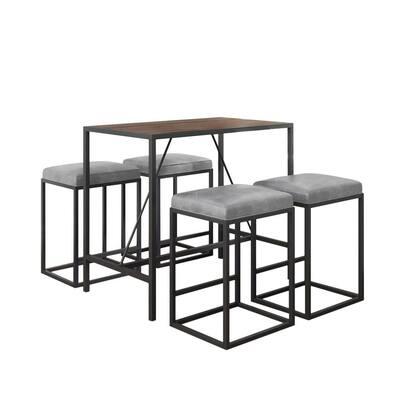 Riley 5-Piece Rectangular Wood Top Grey Dining Set