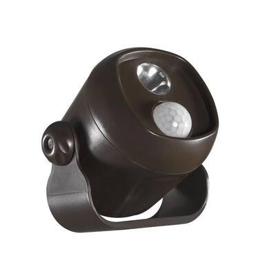 Battery Operated Bronze LED Single Mini Spotlight