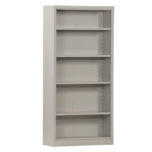 Sandusky 72 In Dove Gray Metal 5 Shelf Standard Bookcase With Adjustable Shelves Bq40351372 05 The Home Depot