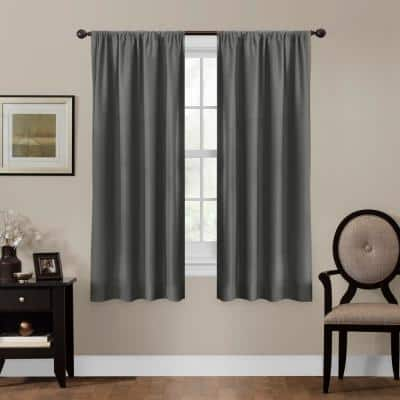 Grey Geometric Thermal Blackout Curtain - 50 in. W x 63 in. L