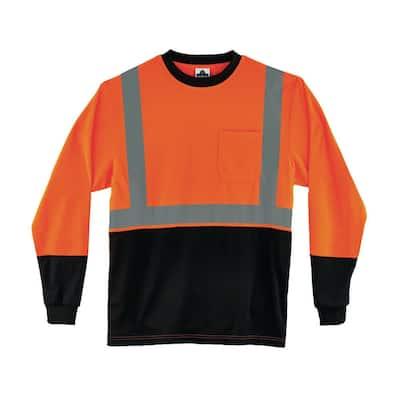 XL Hi Vis Orange Black Front Long Sleeve T-Shirt