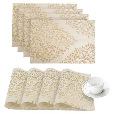 Spring Time Gold Linen-Blend Printed Fabric Placemat (Set of 4)
