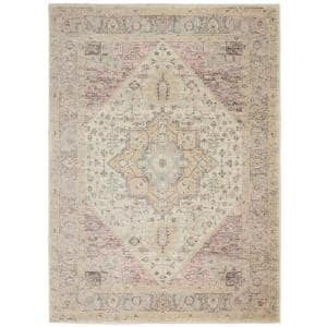 Tranquil Ivory/Pink 4 ft. x 6 ft. Persian Vintage Area Rug