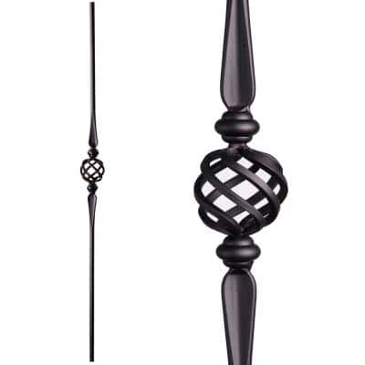 Round 44 in. x 0.625 in. Satin Black Single Basket Hollow Wrought Iron Baluster