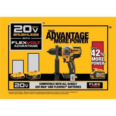 20-Volt MAX Cordless Brushless 1/2 in. Hammer Drill/Driver with FLEXVOLT ADVANTAGE with (1) FLEXVOLT 6.0Ah Battery Kit