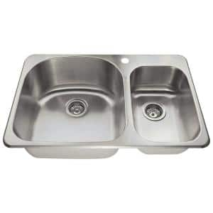 Drop-in Stainless Steel 32 in. 1-Hole Double Bowl Kitchen Sink