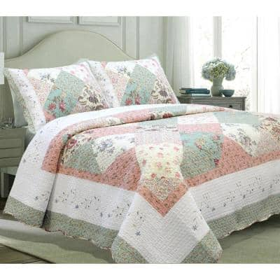 Peachy Floral Vine Country Cottage 3-Piece Flower Garden Embroidered Scalloped Pink Cotton Queen Quilt Bedding Set