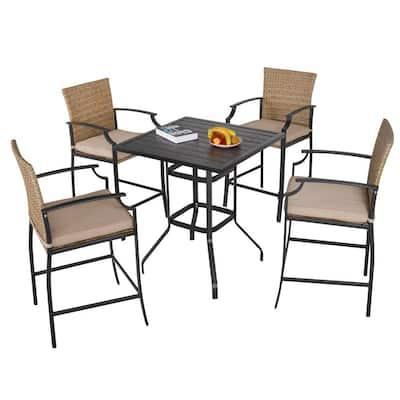 Black 5-Piece Metal Bar Height Outdoor Dining Set with Khaki Cushions