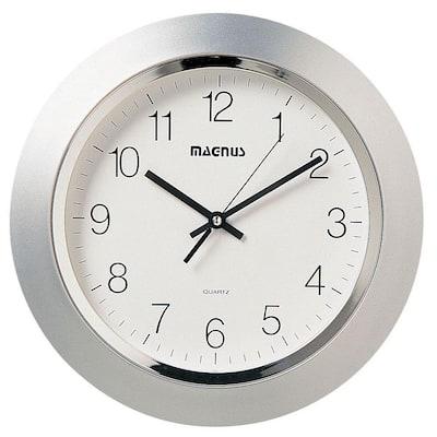 Catherine 14 in. x 14 in. Silver Quartz Wall Clock