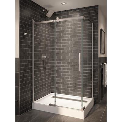 48 in. W x 72 in. H Rectangular Sliding Frameless Corner Shower Enclosure in Stainless