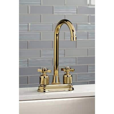 Millennium 2-Handle Bar Faucet in Polished Brass