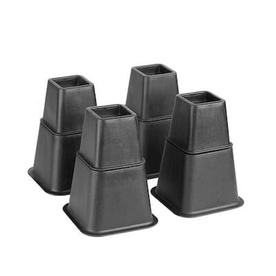 Adjustable 8-Piece Black Bed Risers Set