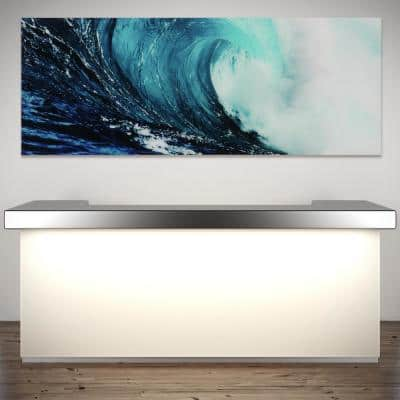 """24 in. x 63 in. """"Blue Wave 2"""" Frameless Free Floating Tempered Glass Panel Graphic Wall Art"""