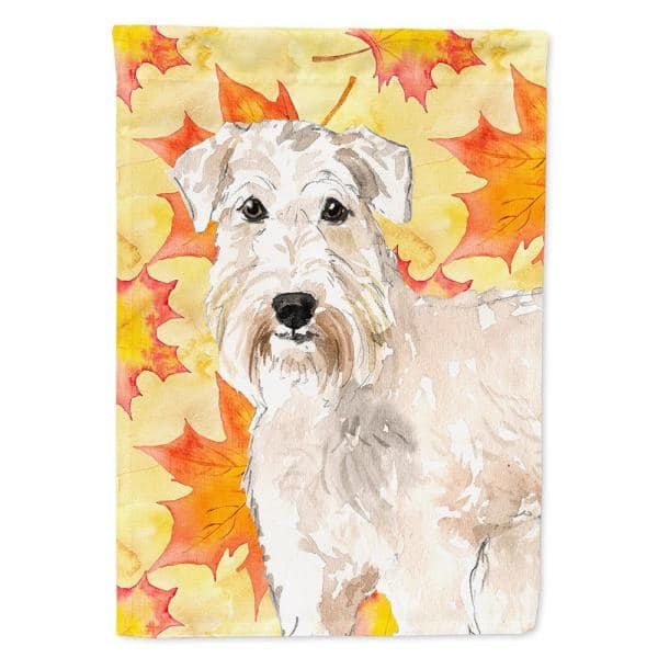 Caroline S Treasures 28 In X 40 In Polyester Fall Leaves Wheaten Terrier Flag Canvas House Size 2 Sided Heavyweight Ck1820chf The Home Depot