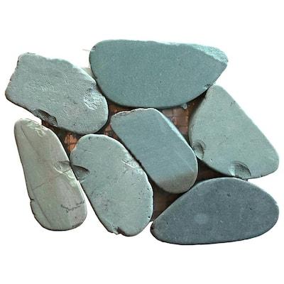 Kuala Batik Blue Honed Natural Stone Pebble Mosaic 4 in. x 6 in. Tile Sample