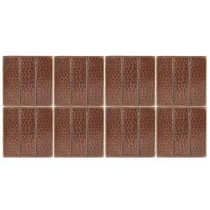 4 in. x 4 in. Hammered Copper Decorative Wall Tile with Linear Design in Oil Rubbed Bronze (8-Pack)