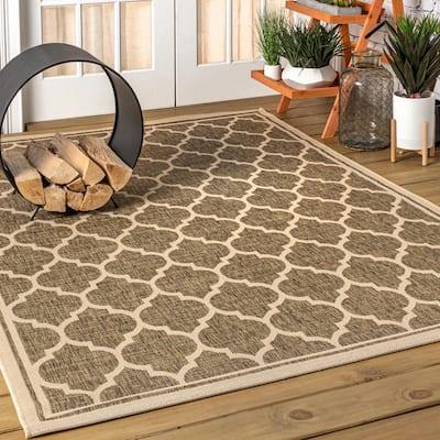 Trebol Moroccan Trellis Brown/Beige 7 ft. 9 in. x 10 ft. Textured Weave Indoor/Outdoor Area Rug